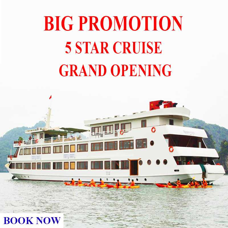 Big Promotion -  La Regina Cruise - 5 Star - Grand Opening - Luxury Limousine Transport (Hanoi - Cruise - Hanoi) + Free Airport Pick-up (Noi Bai Airport - Hotel in Hanoi) - Only: 165 USD/ Pax - 2 Days 1 Night Sleep on Boat